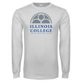 White Long Sleeve T Shirt-Collegiate Logo Vertical