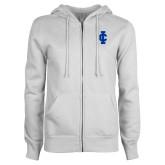 ENZA Ladies White Fleece Full Zip Hoodie-IC Athletic Logo