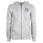 ENZA Ladies White Fleece Full Zip Hoodie-Collegiate Logo Vertical