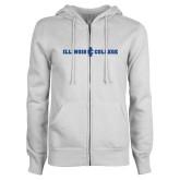 ENZA Ladies White Fleece Full Zip Hoodie-Long Athletic Logo