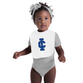White Baby Bib-IC Athletic Logo