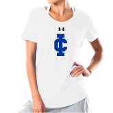 Ladies Under Armour White Charged Cotton Tee-IC Athletic Logo