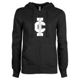 ENZA Ladies Black Fleece Full Zip Hoodie-IC Athletic Logo