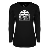 Ladies Syntrel Performance Black Longsleeve Shirt-Collegiate Logo Vertical