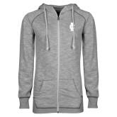 ENZA Ladies Grey/Black Marled Full Zip Hoodie-IC Athletic Logo