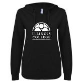 ENZA Ladies Black V Notch Raw Edge Fleece Hoodie-Collegiate Logo Vertical
