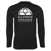 Performance Black Longsleeve Shirt-Collegiate Logo Vertical