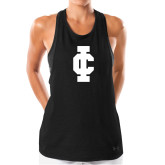 Ladies Under Armour Black Pinhole Tank-IC Athletic Logo