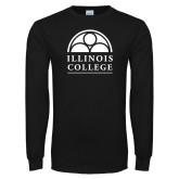 Black Long Sleeve T Shirt-Collegiate Logo Vertical