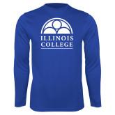 Performance Royal Longsleeve Shirt-Collegiate Logo Vertical