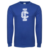 Royal Long Sleeve T Shirt-IC Athletic Logo Distressed