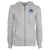 ENZA Ladies Grey Fleece Full Zip Hoodie-Collegiate Logo Vertical