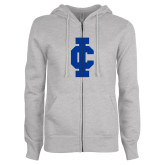 ENZA Ladies Grey Fleece Full Zip Hoodie-IC Athletic Logo