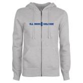 ENZA Ladies Grey Fleece Full Zip Hoodie-Long Athletic Logo
