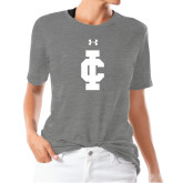 Ladies Under Armour Heather Grey Triblend Tee-IC Athletic Logo