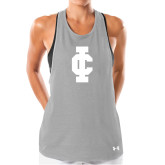 Ladies Under Armour Grey Pinhole Tank-IC Athletic Logo