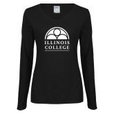 Ladies Black Long Sleeve V Neck Tee-Collegiate Logo Vertical