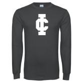 Charcoal Long Sleeve T Shirt-IC Athletic Logo