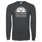Charcoal Long Sleeve T Shirt-Collegiate Logo Vertical