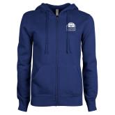 ENZA Ladies Royal Fleece Full Zip Hoodie-Collegiate Logo Vertical