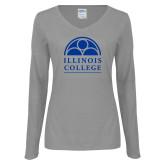 Ladies Grey Long Sleeve V Neck Tee-Collegiate Logo Vertical