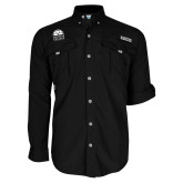 Columbia Bahama II Black Long Sleeve Shirt-Collegiate Logo Vertical