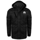 Black Brushstroke Print Insulated Jacket-Collegiate Logo Vertical