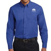 Royal Twill Button Down Long Sleeve-Collegiate Logo Vertical