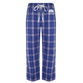 Royal/White Flannel Pajama Pant-Collegiate Logo Vertical