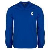 V Neck Royal Raglan Windshirt-IC Athletic Logo