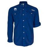 Columbia Bahama II Royal Long Sleeve Shirt-Collegiate Logo Vertical