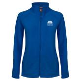 Ladies Fleece Full Zip Royal Jacket-Collegiate Logo Vertical