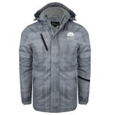 Grey Brushstroke Print Insulated Jacket-Collegiate Logo Vertical