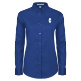 Ladies Royal Twill Button Down Long Sleeve-IC Athletic Logo