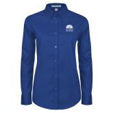 Ladies Royal Twill Button Down Long Sleeve-Collegiate Logo Vertical