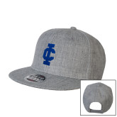 Heather Grey Wool Blend Flat Bill Snapback Hat-IC Athletic Logo