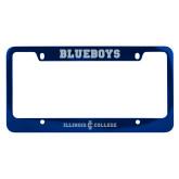 Metal Blue License Plate Frame-Long Athletic Logo Engraved