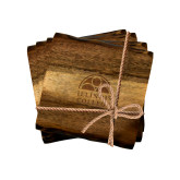 Acacia Wood Coaster Set-Collegiate Logo Vertical Engraved