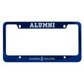 Alumni Metal Blue License Plate Frame-Long Athletic Logo Engraved