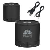 Wireless HD Bluetooth Black Round Speaker-Collegiate Logo Vertical Engraved