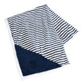 Field & Co Luxurious Navy Chevron Striped Sherpa Blanket-Collegiate Logo Vertical Engraved