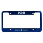 Mom Metal Blue License Plate Frame-Long Athletic Logo Engraved