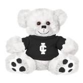 Plush Big Paw 8 1/2 inch White Bear w/Black Shirt-IC Athletic Logo