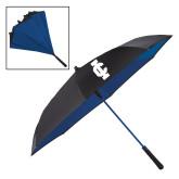 48 Inch Auto Open Black/Royal Inversion Umbrella-IC Athletic Logo