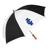 62 Inch Black/White Vented Umbrella-IC Athletic Logo