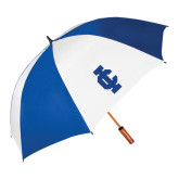 62 Inch Royal/White Vented Umbrella-IC Athletic Logo
