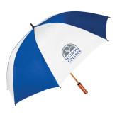 62 Inch Royal/White Vented Umbrella-Collegiate Logo Vertical
