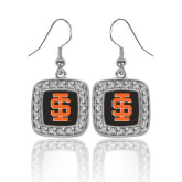 Crystal Studded Square Pendant Silver Dangle Earrings-Interlocking IS