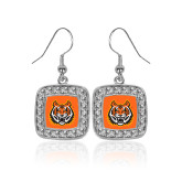 Crystal Studded Square Pendant Silver Dangle Earrings-Bengal Head