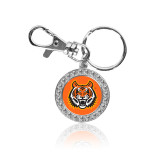 Crystal Studded Round Key Chain-Bengal Head